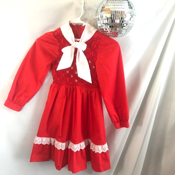 Polly Flinders Other - Vintage Polly Flinders Girls Red Smocked Bow Dress